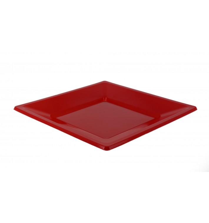 Assiette Plastique Carrée Plate Rouge 170mm (750 Unités)
