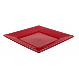 Assiette Plastique Carrée Plate Bordeaux 170mm (360 Unités)