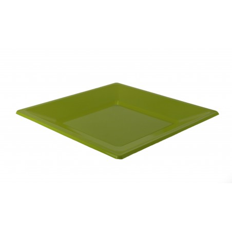 Plato cuadrado de Plastico Llano Pistacho 170mm (25 Uds)