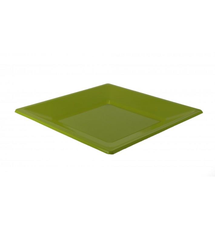 Assiette Plastique Carrée Plate Pistache 230mm (3 Utés)