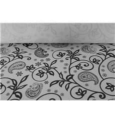 """Nappe papier en ROULEAU """"Cachemire"""" Blanc 1,2x100m 37g (6 Unités)"""