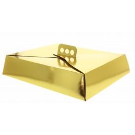 Boîte en Carton or métallisé pour Tarte 23,5x30x8 cm (50 Unités)