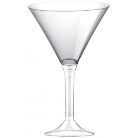 Flûte Plastique Cocktail Pied Transparent 185ml 2P (20 Utés)