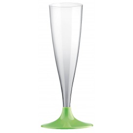 Flûte Champagne Plastique Pied Vert citron 140ml (20 Unités)