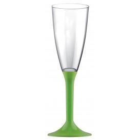 Flûte Champagne Plastique Pied Vert Citron120ml (200Utés)
