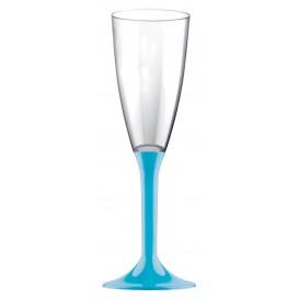 Flûte Champagne Plastique Pied Turquoise 120ml (20 Utés)