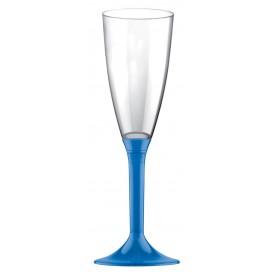 Flûte Champagne Plastique Pied Bleu Transp. 120ml (20 Utés)
