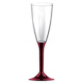 Flûte Champagne Plastique Pied Bordeaux 120ml (20 Utés)