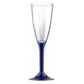 Flûte Champagne Plastique Pied Bleu 120ml (20 Utés)