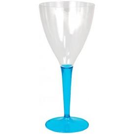 Verre à Vin Plastique Turquoise 130ml (60 Unités)