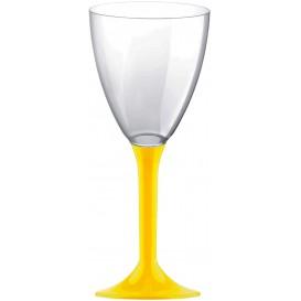 Flûte Plastique Vin Pied Jaune 180ml (20 Unités)