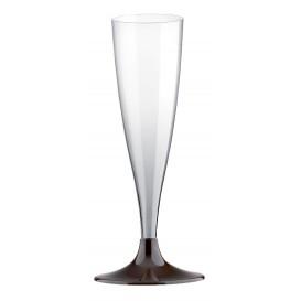Flûte Champagne Plastique Pied Marron 140ml (20 Unités)
