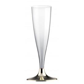 Flûte Champagne Plastique Pied Or Chrome 140ml (20 Unités)