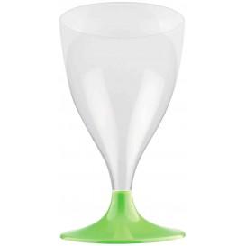 Flûte en Plastique Vin Pied Vert citron 200ml (20 Unités)