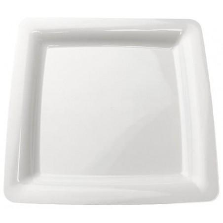Assiette carrée en plastique dur Blanc 18x18cm (20 Utés)