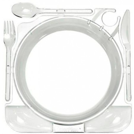 Set Assiette et Couverts Caterplate Transparent (12 Utés)