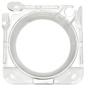 Set Assiette et Couverts Caterplate Transparent (48 Utés)