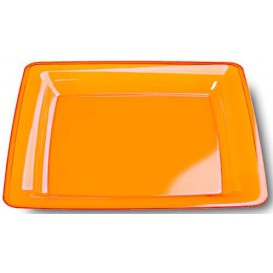 Assiette Carrée Extra Dur Orange 22,5x22,5cm (72 Utés)