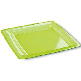 Assiette plastique carrée extra dur Vert 22,5x22,5cm (72 Unités)