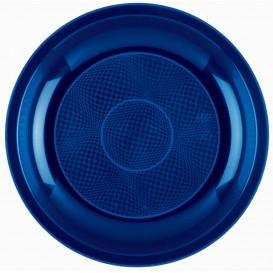 Assiette Plastique Plate Bleu Round PP Ø220mm (50 Utés)