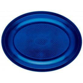 Plateau Plastique Ovale Bleu Round PP 255x190mm (50 Utés)