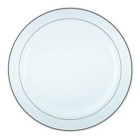 Assiette en Plastique Dur avec Liseré Argent 19cm (200 Utés)