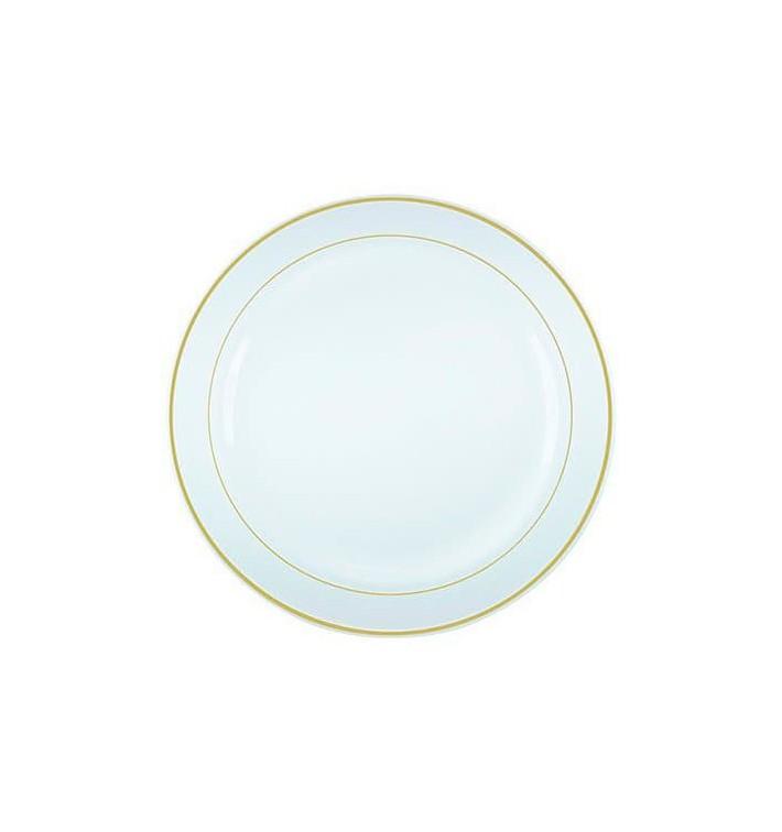 Assiette en Plastique Dur avec Liseré Or 23cm (200 Utés)