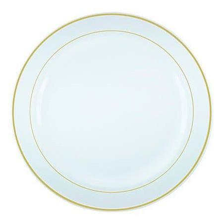 Assiette en Plastique Dur avec Liseré Or 26cm (20 Utés)