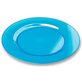 Assiette Plastique Extra Dur Turquoise 23cm (6 Unités)