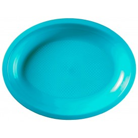 Plateau Ovale Turquoise Round PP 255x190mm (600 Utés)