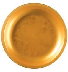 Assiette Plastique Plate Or Ø220mm (25 Utés)