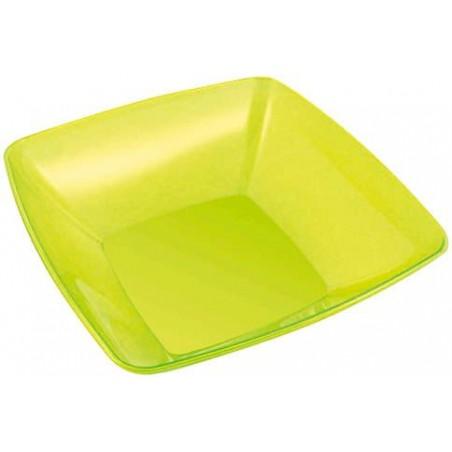 Bol Plastique carré Vert 28x28cm (20 Unités)