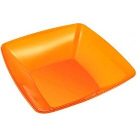 Bol Plastique carré Orange 28x28cm (20 Unités)
