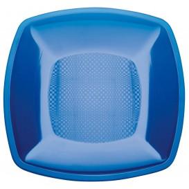 Assiette Plastique Plate Bleu Transp. Square PS 180mm (25 Utés)