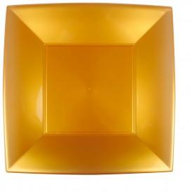 Assiette Plastique Plate Carrée Or 290mm (72 Utés)