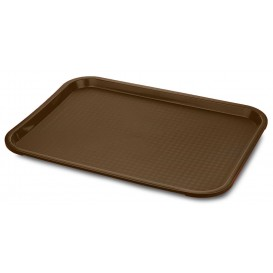 Plateau en Plastique Fast Food Chocolat 30,5x41,4cm (24 Utés)