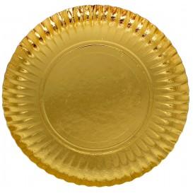 Assiette ronde Carton Doré 230mm (100 Unités)