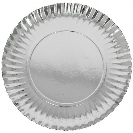 Assiette ronde Carton Argenté 230mm (100 Unités)