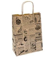 Sac Papier Kraft Naturel Journaux et Anses 26+14x32 cm (50 Utés)