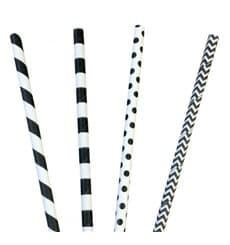 Paille Droite Papier Assortiment Noir Ø6mm 200mm (200 Utés)