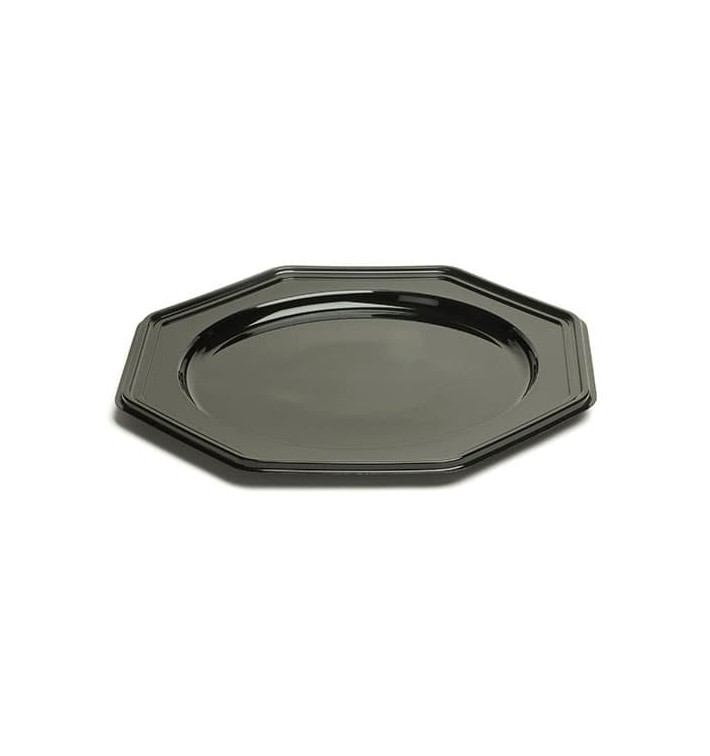dessous d 39 assiette plastique octogonal noir 30 cm 10 ut s. Black Bedroom Furniture Sets. Home Design Ideas