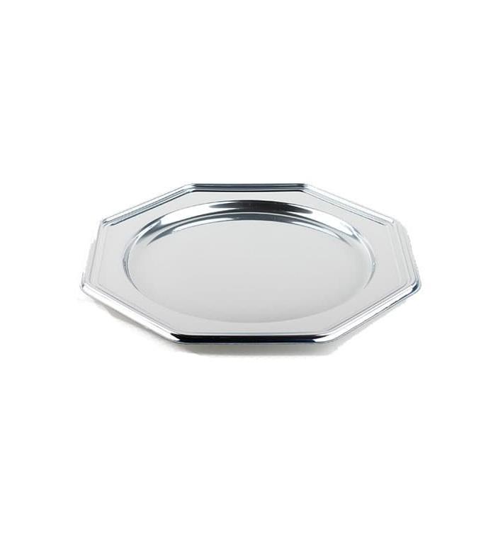 dessous d 39 assiette plastique octogonal argent 30 cm 5 ut s. Black Bedroom Furniture Sets. Home Design Ideas