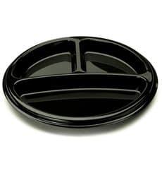 Assiette en Plastique Noire 3 Compartiments 26cm (25 Utés)