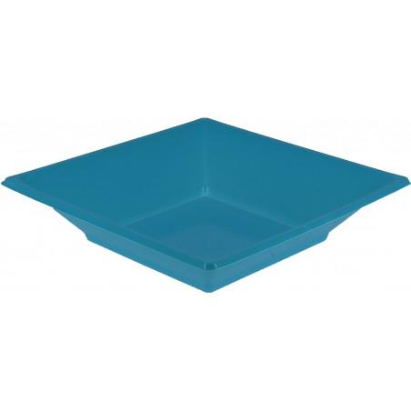 Assiette Plastique Creuse Carrée Turquoise170mm (750 Unités)