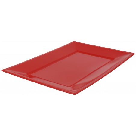 Plateau Plastique Rouge Rectang. 330x225mm (25 Utés)