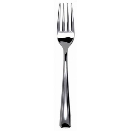 Fourchette argentée en plastique 19cm (500 unités)