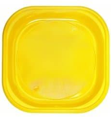 Assiette Plastique PS Carré Jaune 200x200mm (720 Utés)