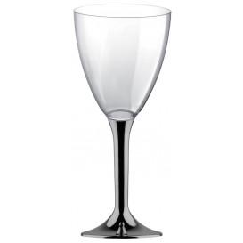 Flûte Plastique Vin Pied Nickel Chrome 180ml (20 Unités)