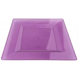 Assiette Plastique Carrée Extra Dur Aubergine 20x20cm (4 Utés)
