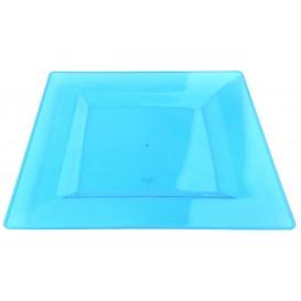 Assiette Plastique Carrée Extra Dur Turquoise 20x20cm (4 Utés)